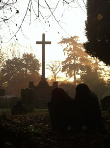 A photo of the St Mary's war memorial, taken early morning 2011