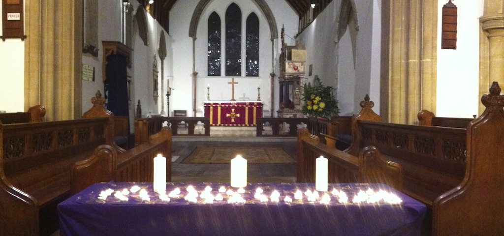 A photo of the nave altar at the Memorial Service 2012