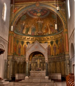 A photo of the High Altar at the Sint Andrey Abbey, Bruges