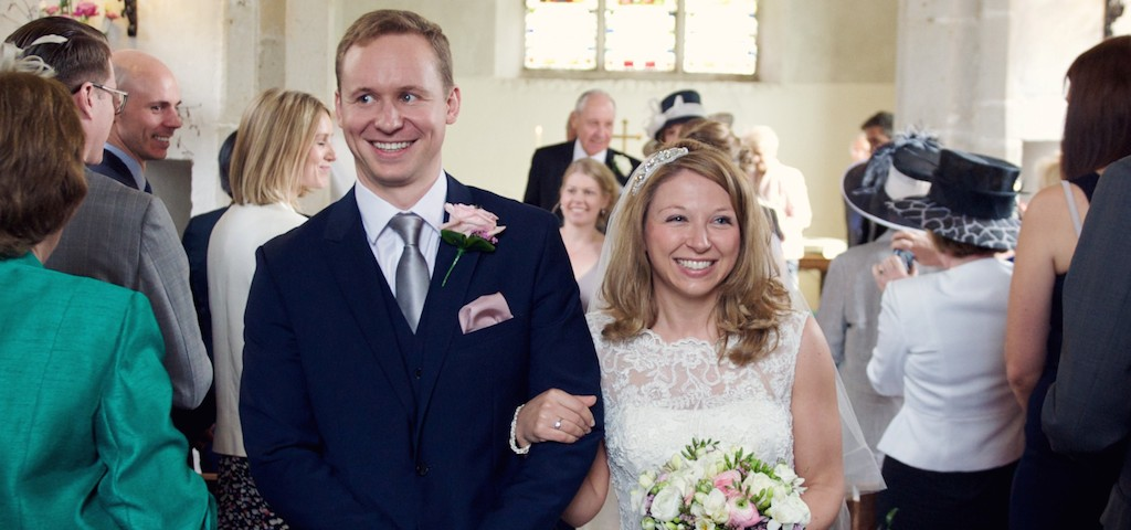 A photo of Robert and Catherine, married at St Michael's in 2014.