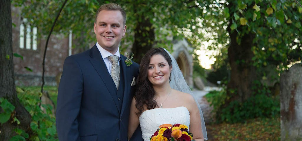 Jonathan and Justine, married at St Mary's in 2013.