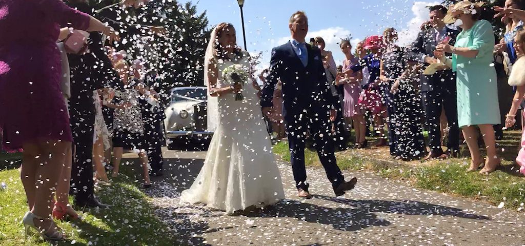 A photo of Phil and Gemma, married at St Mary's in 2015.