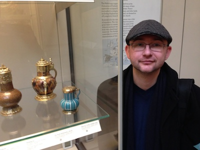 A photo of Rev David with the Malling Jug at the British Museum