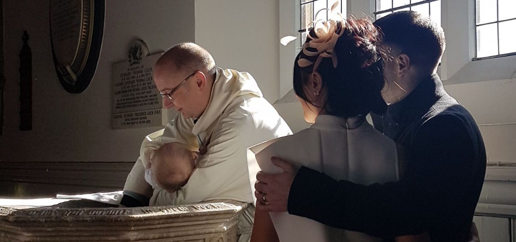 A photo of a Christening at St Mary's (Photo credit: Stephanie Chapman)
