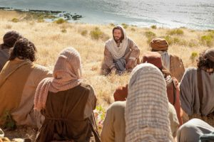 An image from a recent movie depicting Jesus giving the Sermon on the Mount