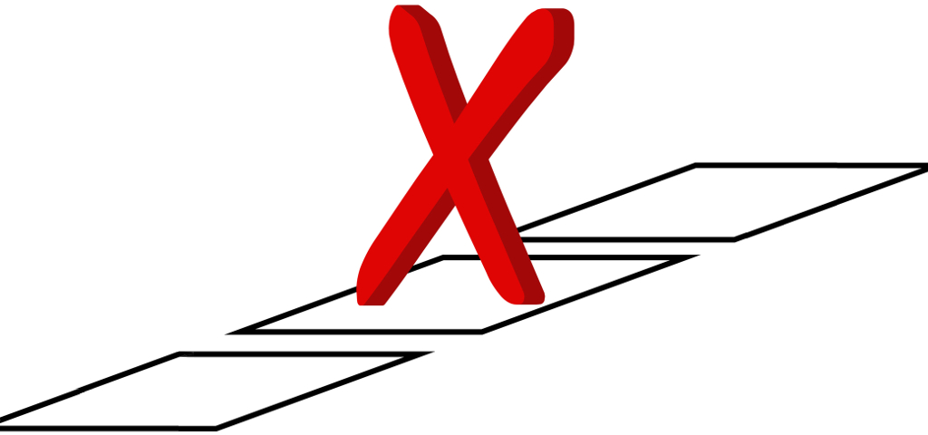 Election vote cross in a box